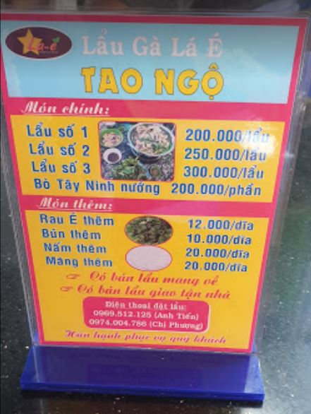 Menu quán ăn Tao Ngộ